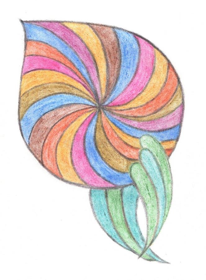 Flower drawn with crayon. Hand drawn design element royalty free illustration