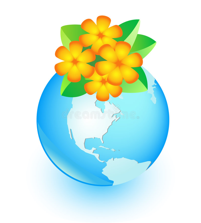 Download Flower and earth stock vector. Image of planet, world - 7870834