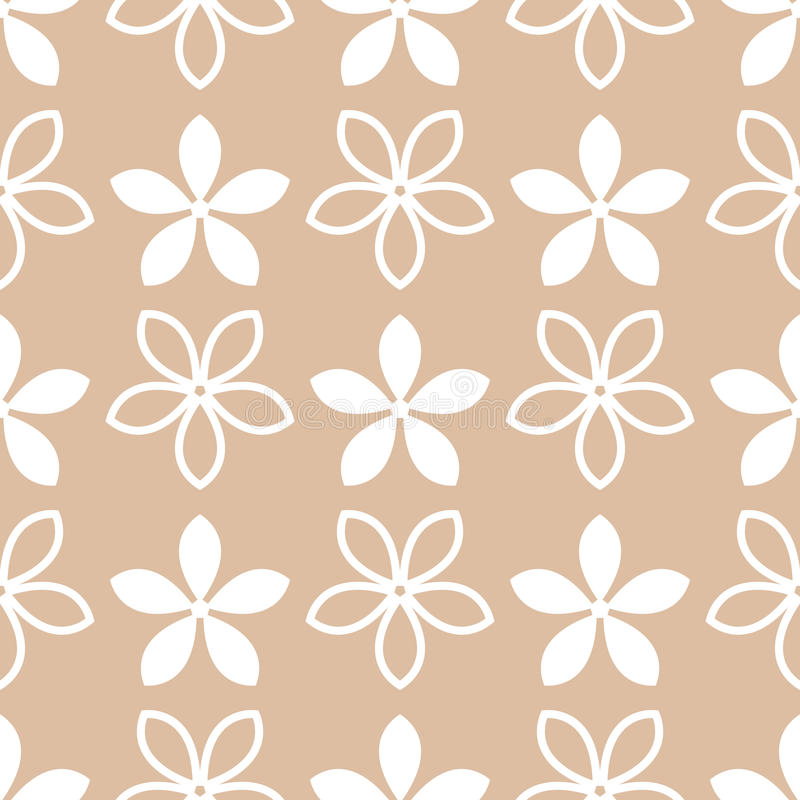 Flower elements for wallpapers. White and brown seamless pattern royalty free illustration