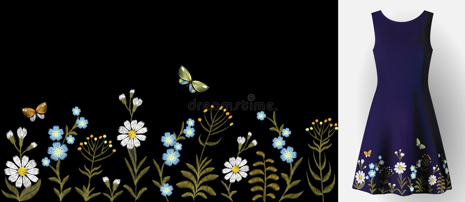 Flower embroidery on dress mock up. Fashion decoration patch realistic 3d vector illustration woman clothes. Traditional royalty free illustration