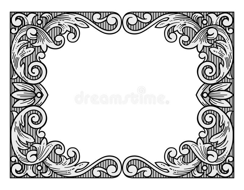 Flower engraving frame. Retro flower engraving frame ornament vector vector illustration