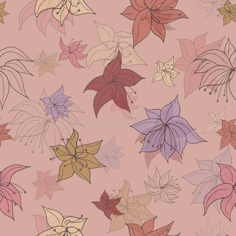 Flower Fade Out. Seamless repeating pattern of  various dulled flowers. Fading out on a washed out peach background - Vector. Suitable for use in crafting, deco vector illustration