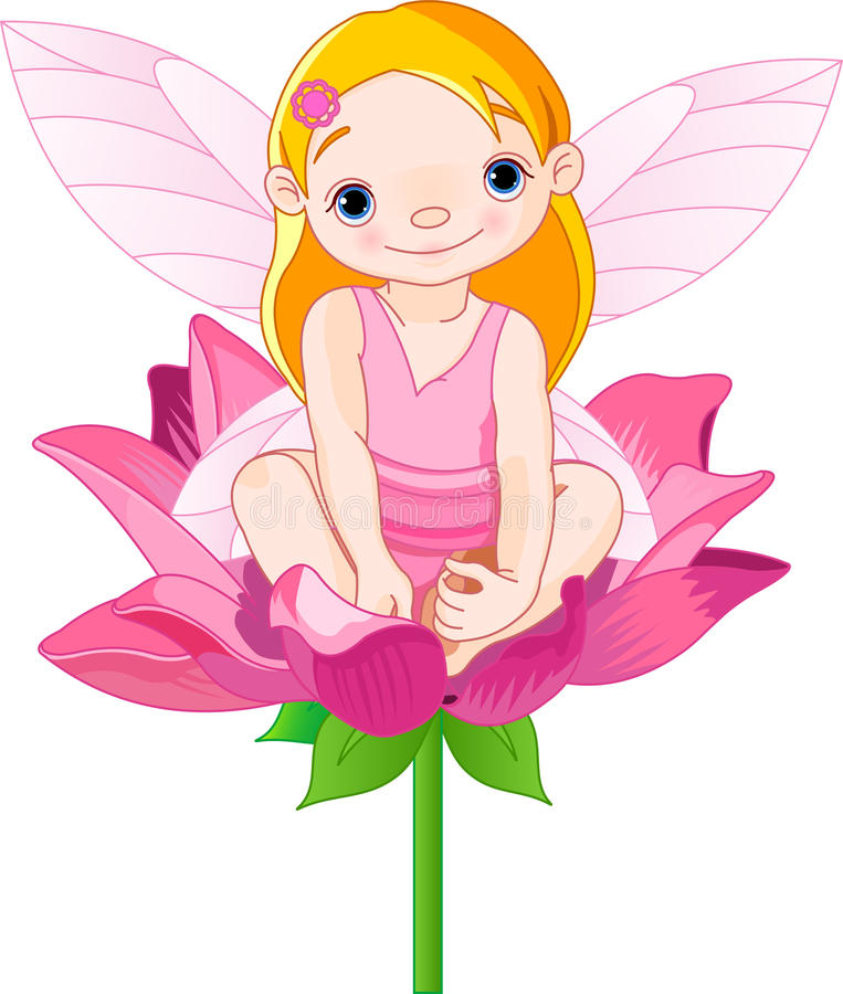 Flower Fairy. A little fairy with wings on her back sitting on a flower