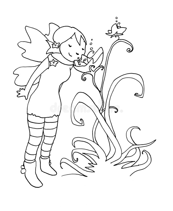 Download Flower Fairy Black And White Stock Illustration - Image: 9165877