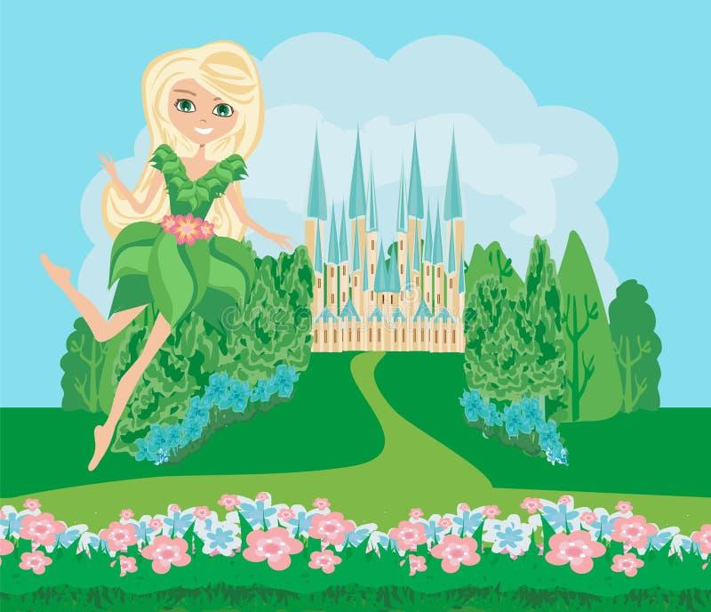 Flower Fairy on castle landscape vector illustration