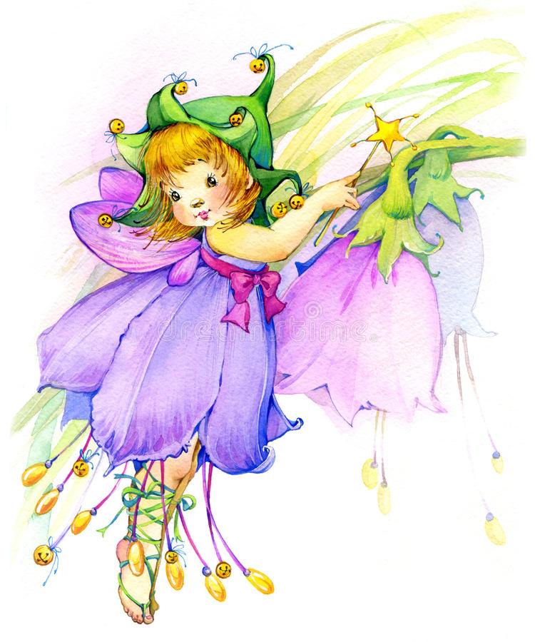 Flower Fairy. watercolor drawing royalty free stock photos