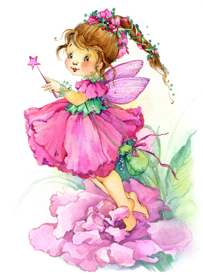 Flower Fairy. Watercolor Drawing Stock Illustration ...
