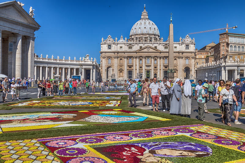 Flower Festival 2014 2. Rome, Italy - June 29, 2014: On the occasion of the patron saints of the city of Rome, St. Paul and St. Peter, was held in Piazza Pio XII stock photos