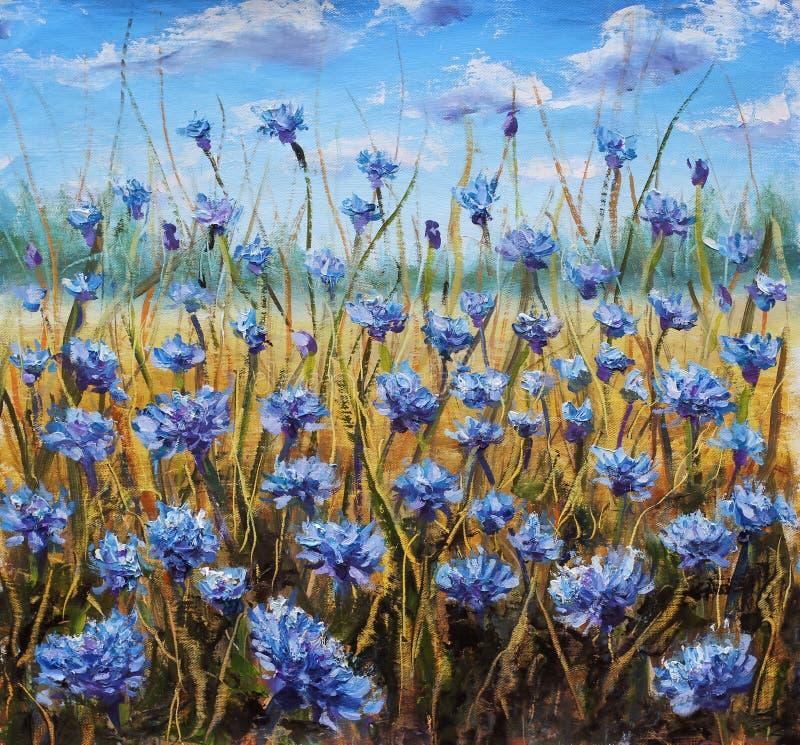 Flower Field. Blue flowers in meadow. Blue sky. Oil painting. stock illustration