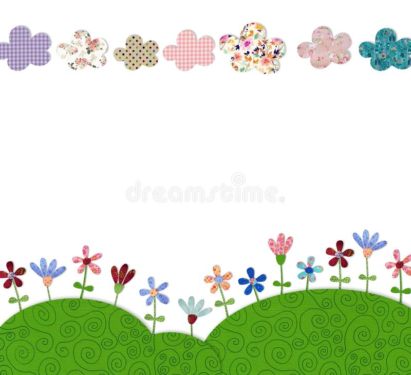 Flower field. Colorful graphic illustration. Quilt design royalty free illustration