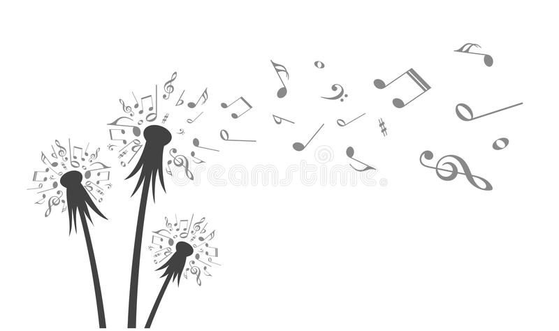 Flower field dandelion with flying notes. vector illustration