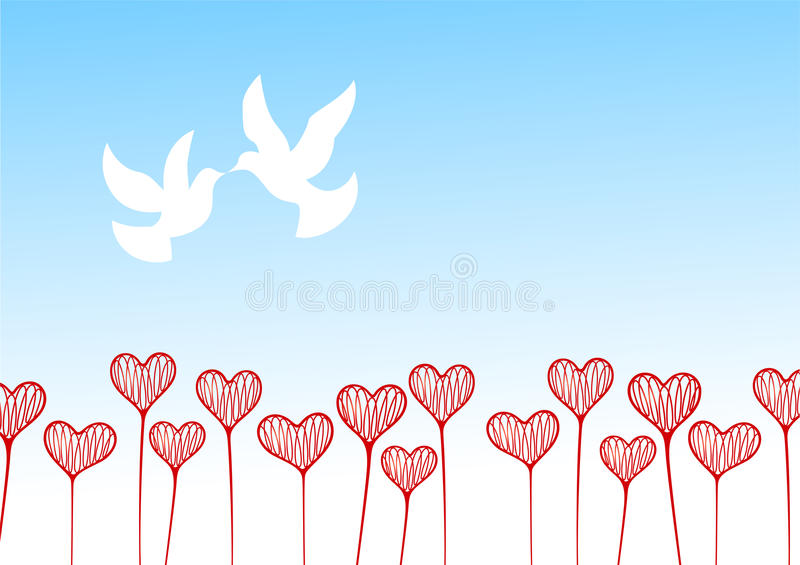 Download Flower field from hearts stock vector. Image of flower - 12726143
