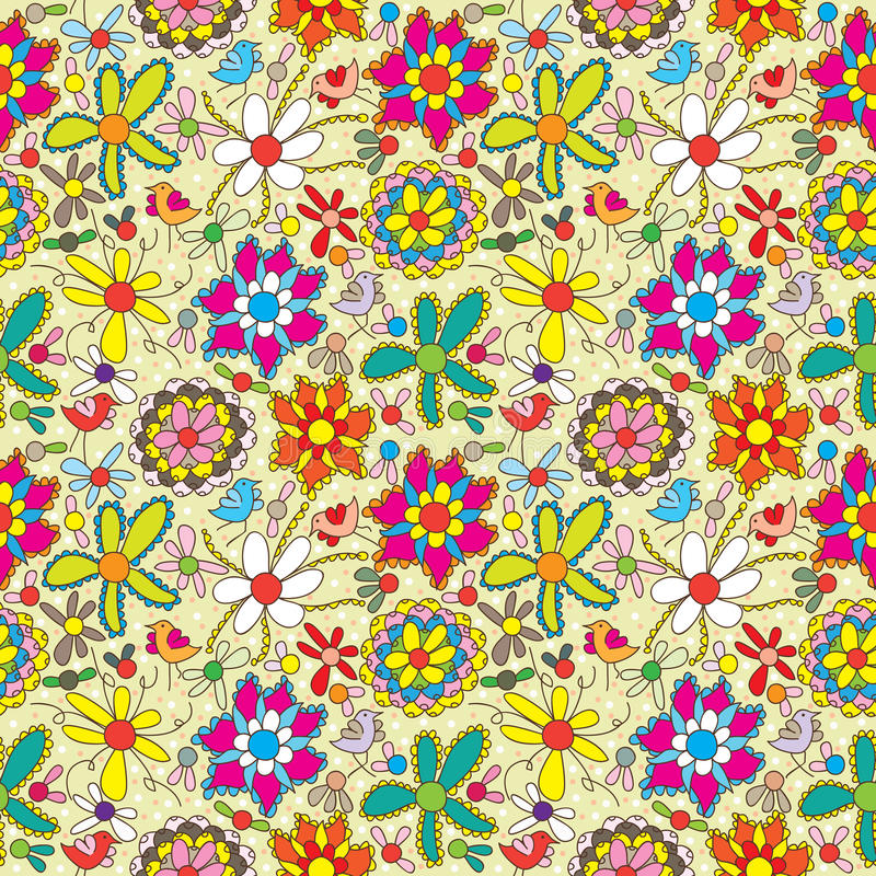 Free Flower Fill Colorful Seamless Pattern Stock Photos - 24518303
