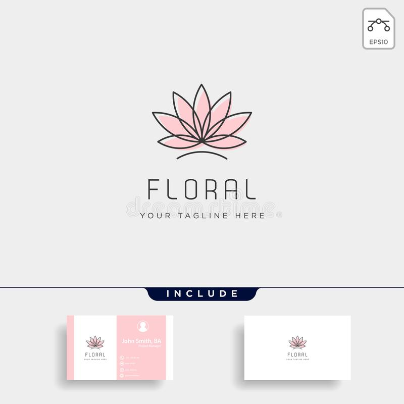 Flower floral line beauty premium simple logo template. Vector icon element royalty free illustration