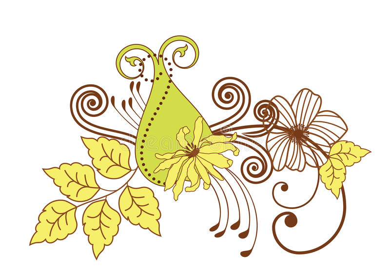 Flower flourish. Green and yellow spring summer flower flourish with funky paisley and coils vector illustration