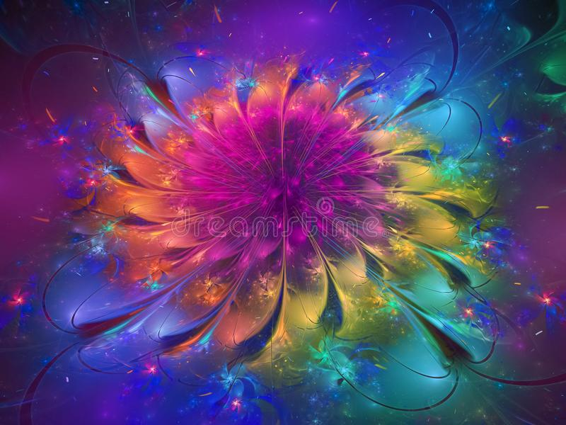 Flower fractal abstract futuristic, design, dynamic digital render design decorative royalty free stock images