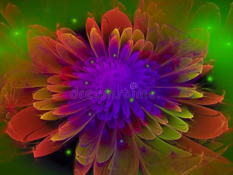 Flower fractal abstract futuristic, design, render royalty free stock photography
