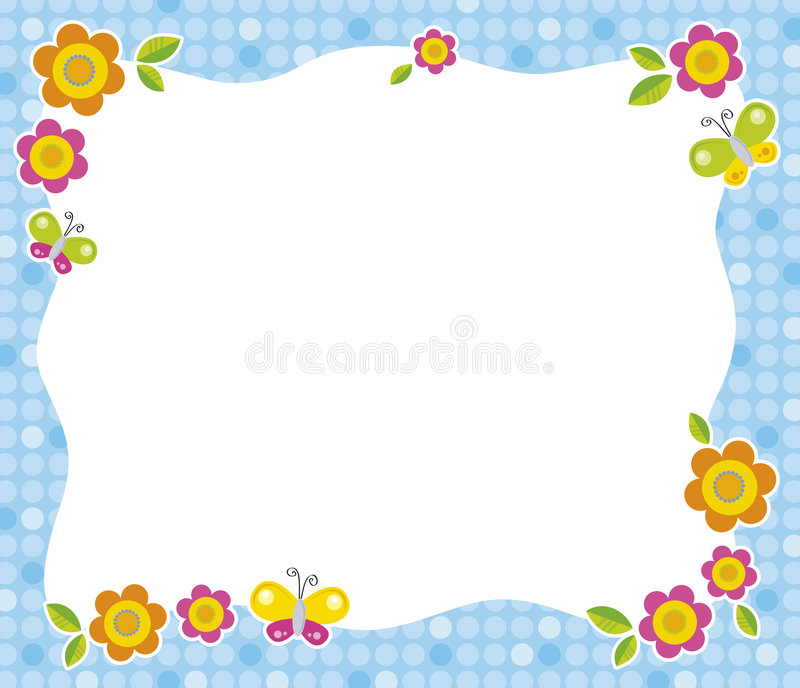 Flower frame. Frame on the blue background with flowers and butterflies