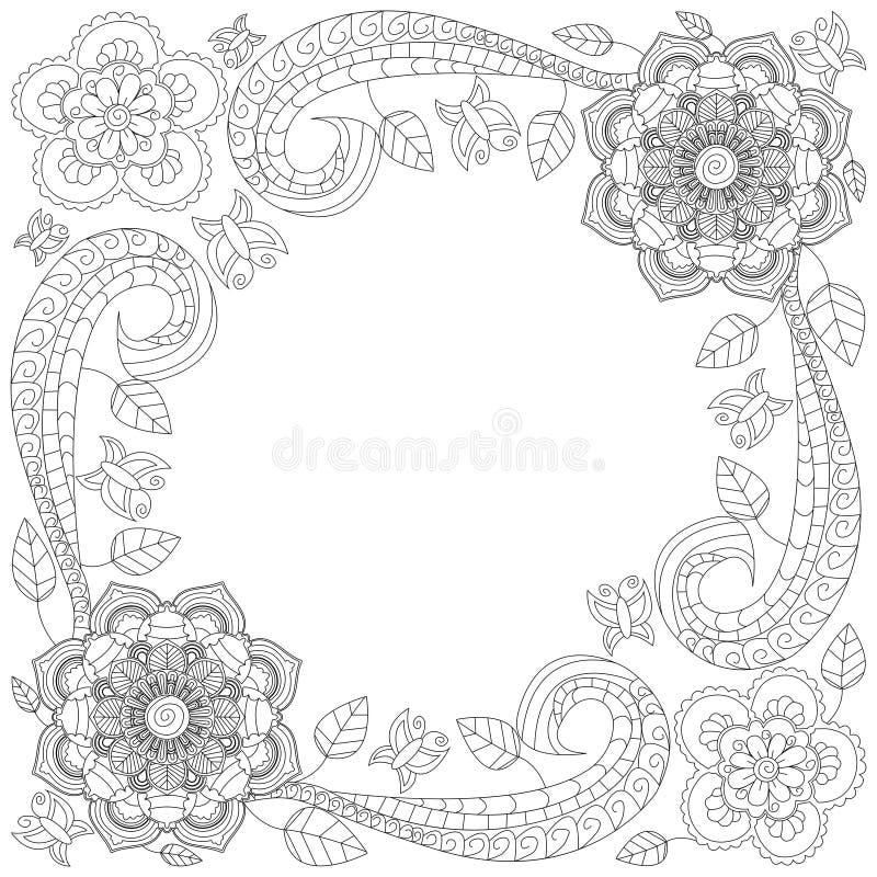 Download Flower Frame Coloring Book Vector Illustration Stock