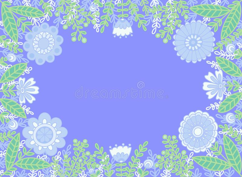 Decorative frame of flowers on a blue background. vector illustration