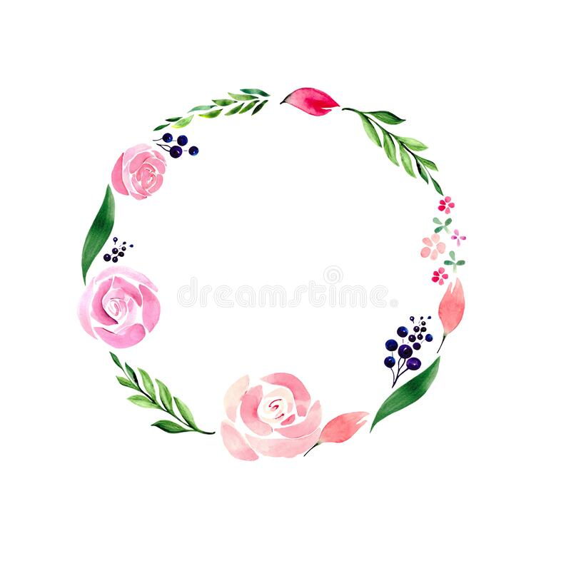 Flower frame with delicate roses, green leaves, berries and buds on a white background with space for text. Round wreath for desig royalty free stock photography