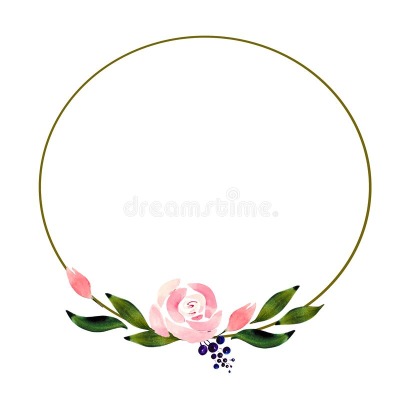 Flower frame with delicate roses, green leaves, berries and buds on a white background with space for text. Round wreath for desig royalty free stock image
