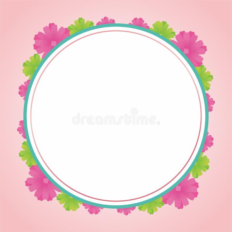 Blank Frame Design With Flowers. Flower frame design, border design template for card greeting or photo frame with pink color royalty free illustration