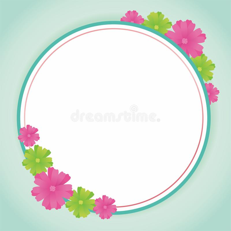 Blank Frame Design With Flowers. Flower frame design, border design template for card greeting or photo frame with pink and tosca color royalty free illustration