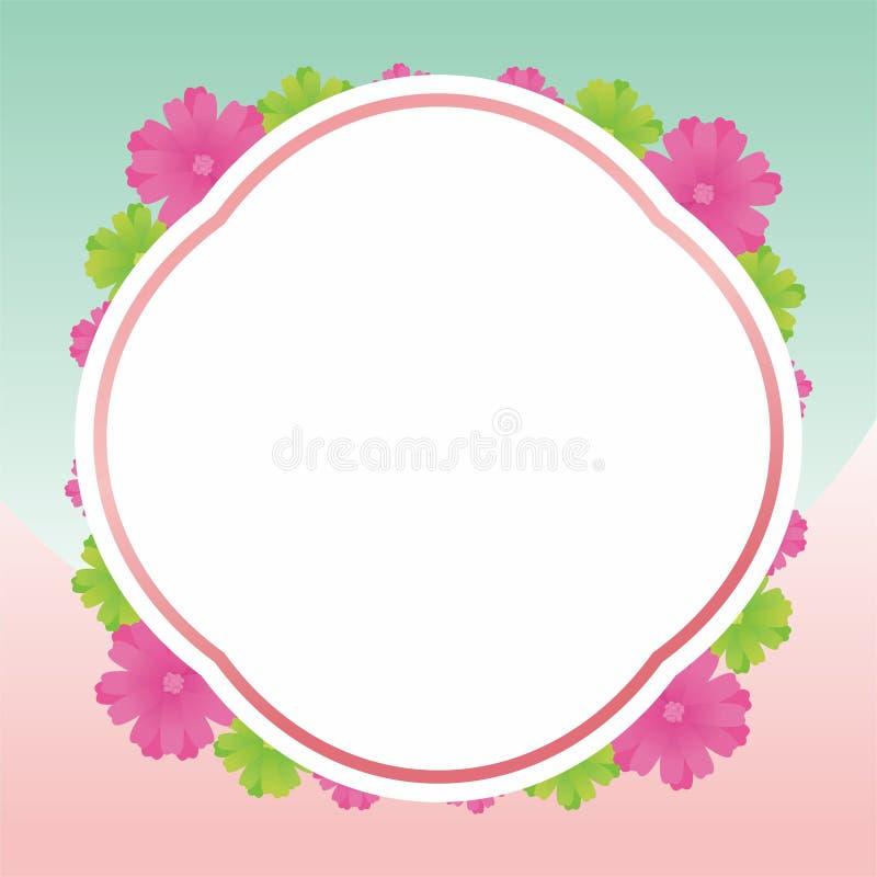 Blank Frame Design With Flowers. Flower frame design, border design template for card greeting or photo frame with pink color stock illustration