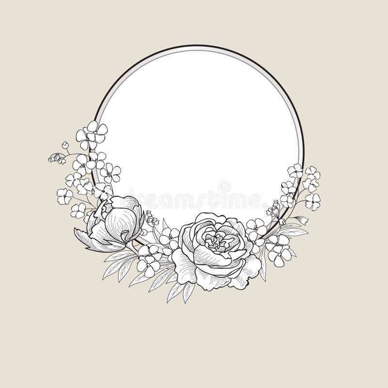 Flower frame. Floral border. flourish background. royalty free illustration