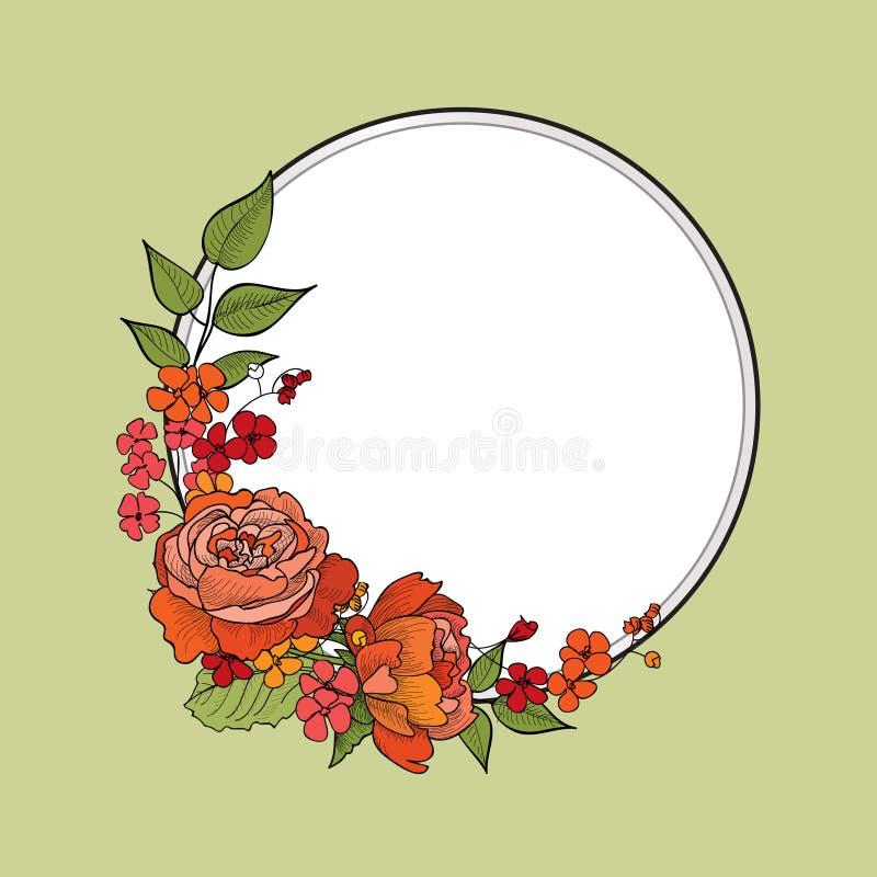 Flower frame. Floral border. Vintage flourish background in victorian style. stock illustration