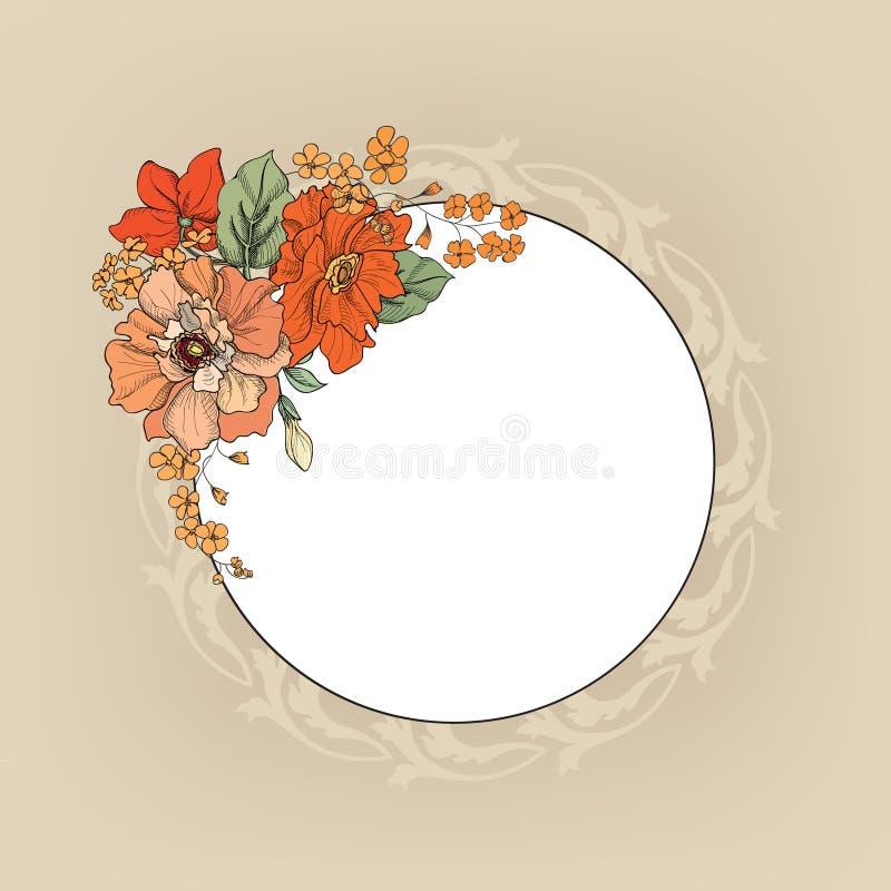 Flower frame. Floral vintage border. Flourish victorian style. royalty free illustration