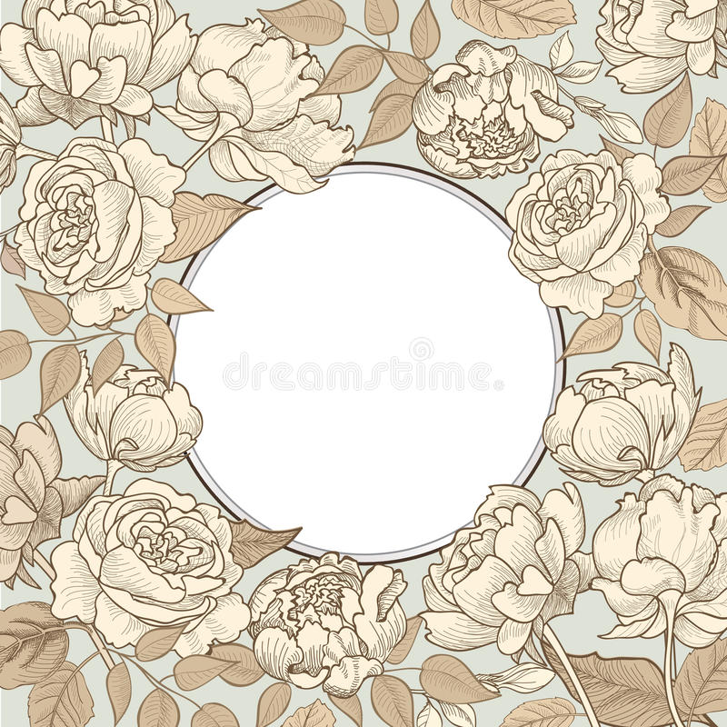 Flower frame. Floral vintage border. Flourish victorian style. vector illustration