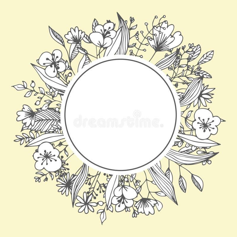 Flower frame greeting card template floristic decor vector illustration