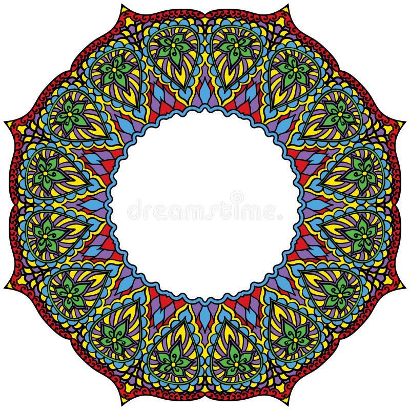 Flower frame mandala. Vintage decorative element. Motifs of oriental pattern Islamic Arabic Pakistan India Turkey China painting. royalty free illustration