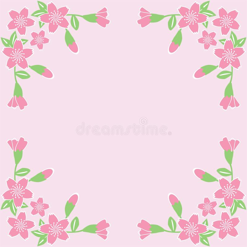 Flower frame on pink background royalty free stock image