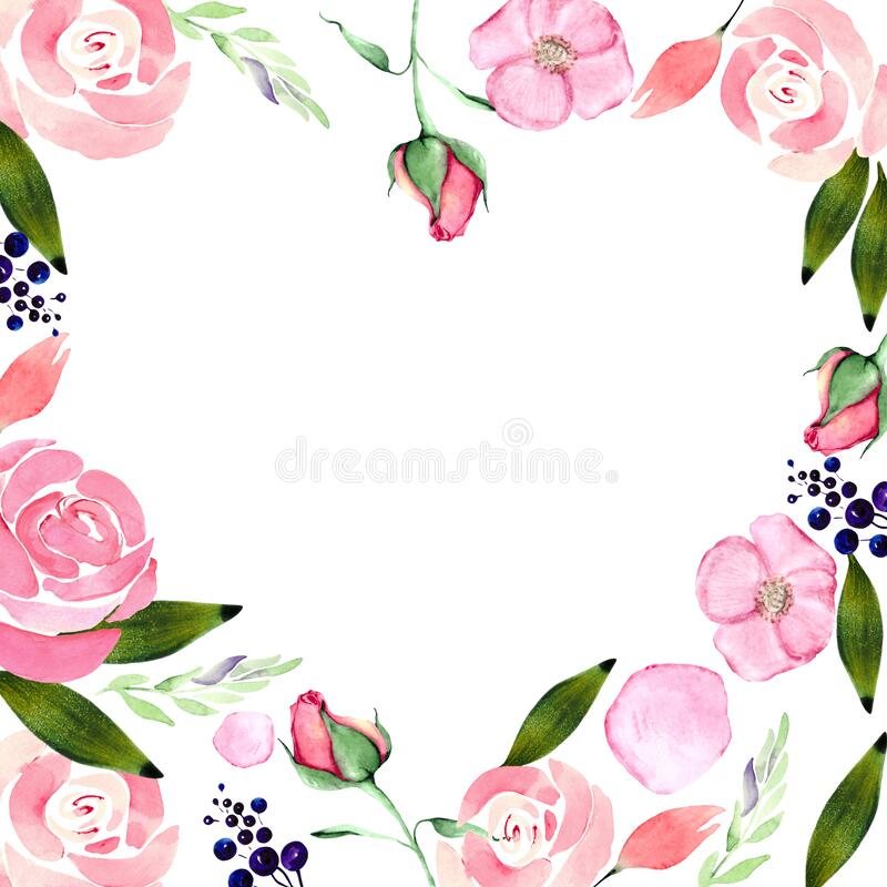 Flower frame with roses, green leaves and branches with space for text. Elegant heart-shaped illustration for the design of weddin stock photography