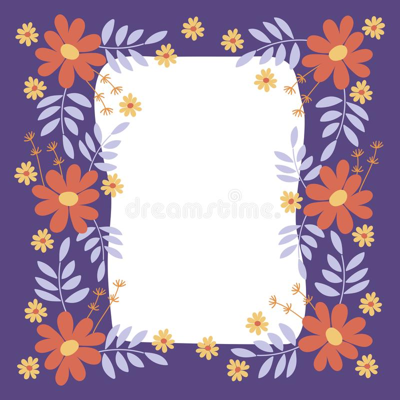 Flower frame . Vector elegant floral arrangement with simple flowers and leaves . Space for text. Design for invitation, wedding, greeting cards, posters stock illustration