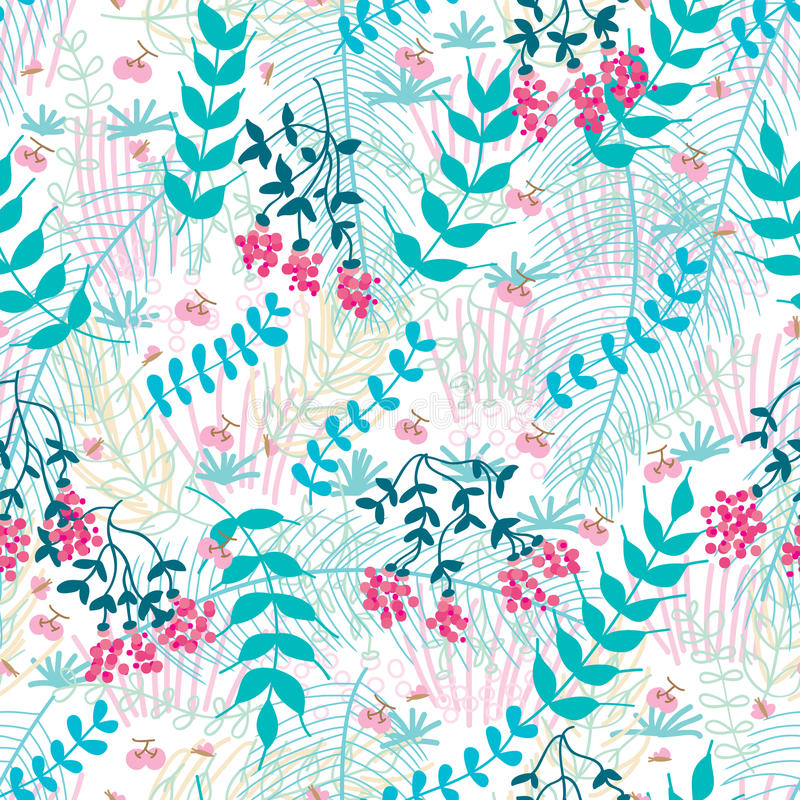 Flower fruit cherry malt palm butterfly seamless pattern. This illustration is wild fruit, cherry with pink butterfly, decoration with wild leaf, malt, palm in vector illustration