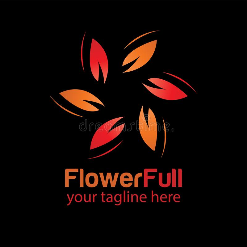 Flower full logo design template with black background royalty free stock images