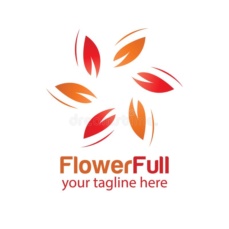 Flower full logo design template stock photo