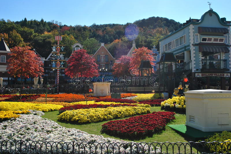 Flower garden in the amusement park royalty free stock photo