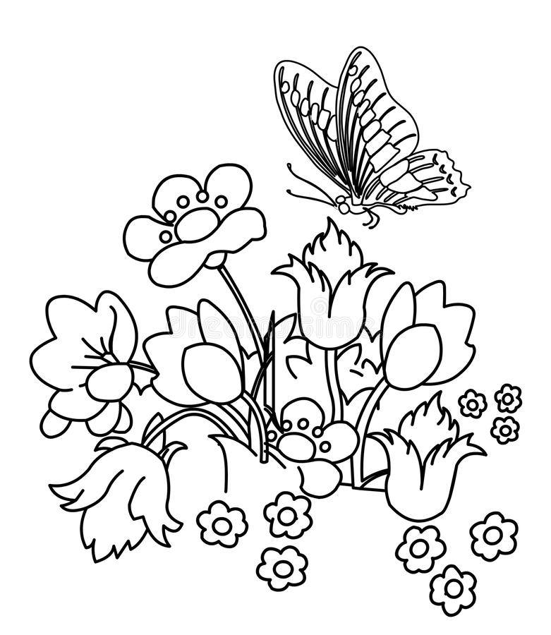 Flower Garden With Butterfly Coloring Page Stock Illustration ...
