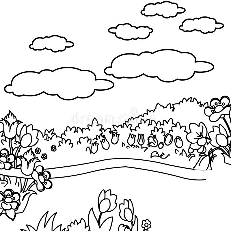 Flower Garden Coloring Page Stock Illustration - Illustration of ...