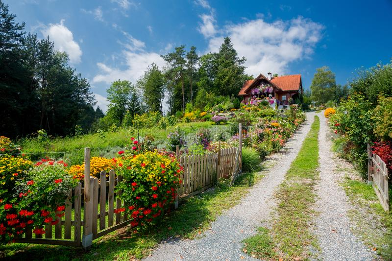 Flower garden house stock photography
