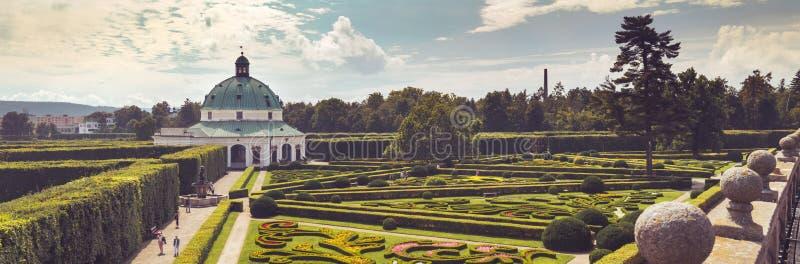 Flower Garden in Kromeriz - Baroque park. Rotunda in the garden royalty free stock images