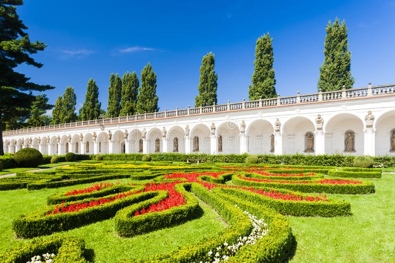 Flower garden of Kromeriz Palace, Czech Republic stock photography