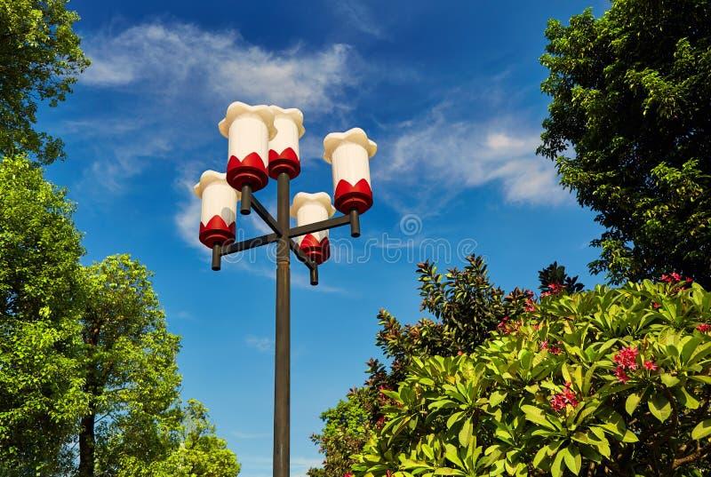 Garden lamp outdoor light landscape lighting. Decorative outdoor lighting equipment. Garden lamp or outdoor light in flower garden for landscape lighting royalty free stock image