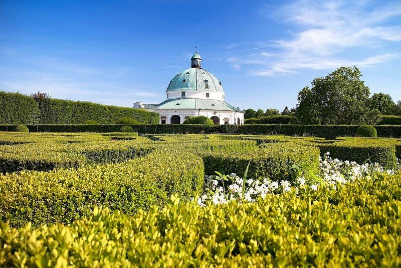 Flower garden with Rotunda in Kromeriz. Charming late Renaissance Italian garden. Beautiful garden in Czech republic, architecture, baroque, building, color royalty free stock photography