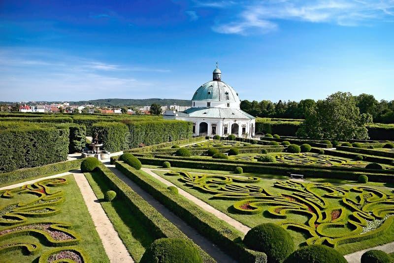 Flower garden with Rotunda in Kromeriz. Charming late Renaissance Italian garden. Beautiful garden in Czech republic, architecture, baroque, building, color stock image